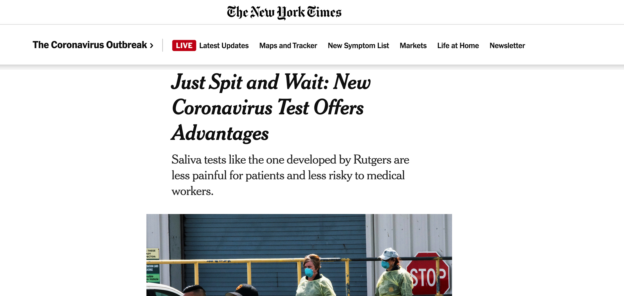 The New York Times- Just Spit and Wait New Coronavirus Test Offers Advantages