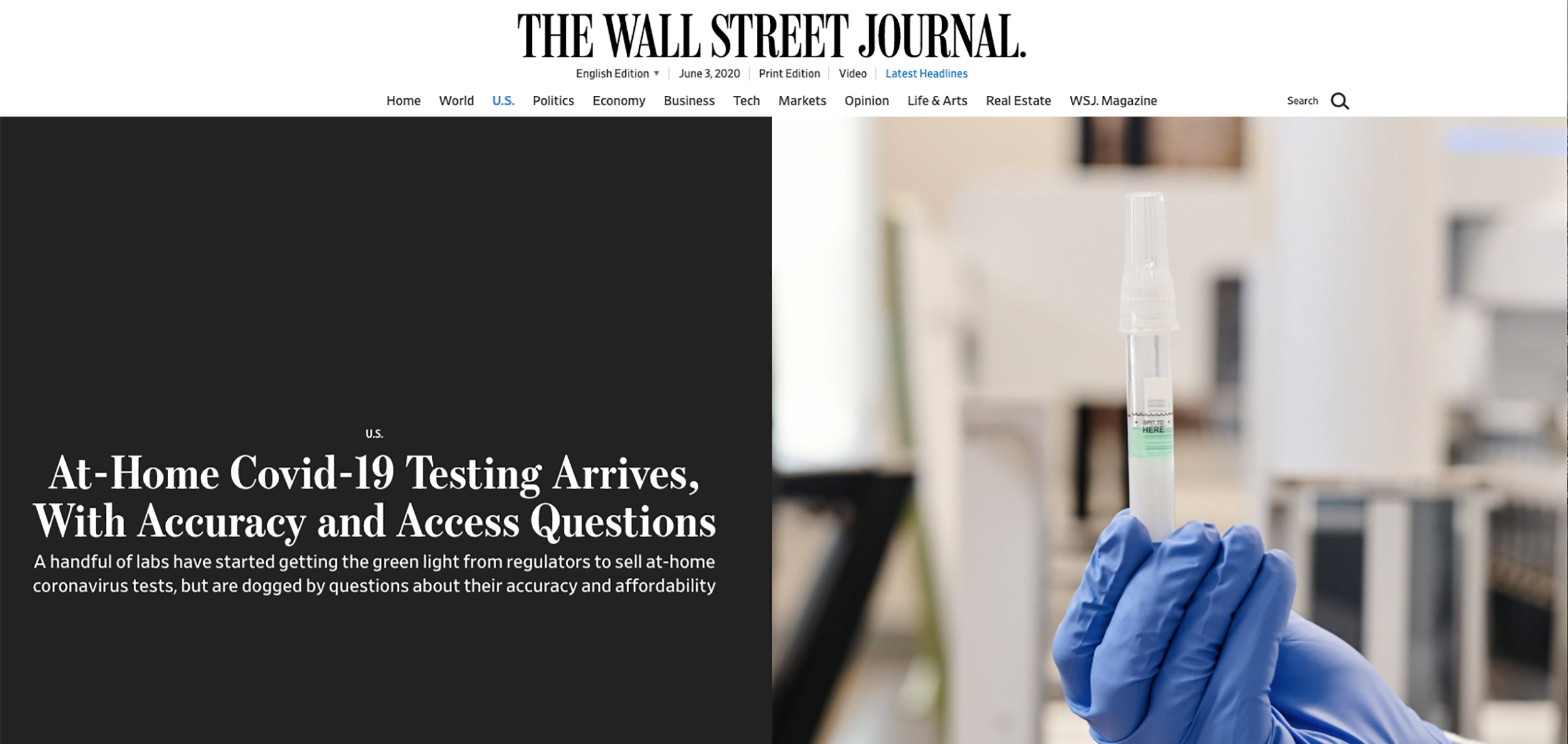 THE WALL STREET JOURNAL-At-Home COVID-19 Testing Arrives With Questions