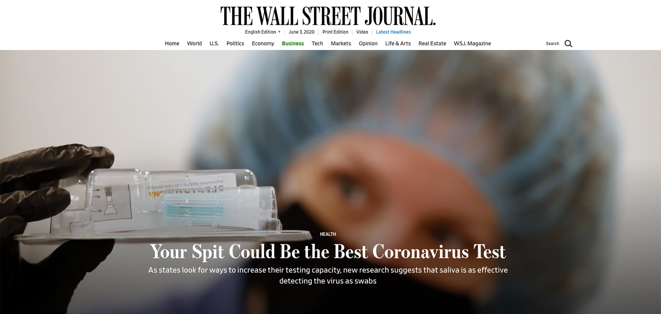 The Wall Street Journal-Could Spit be the Best Coronavirus Test