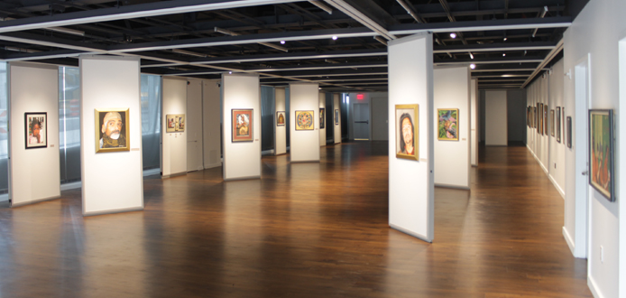 Photograph of Shiva Gallery Space, including Wall Panels & Various Paintings