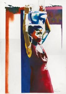 colorful market lady  Shiva Gallery Art Image