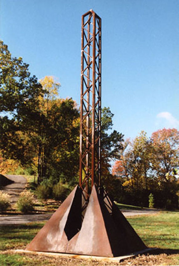 Pyramidobelisk, 8'x8'x22', oiled steel, $22,000