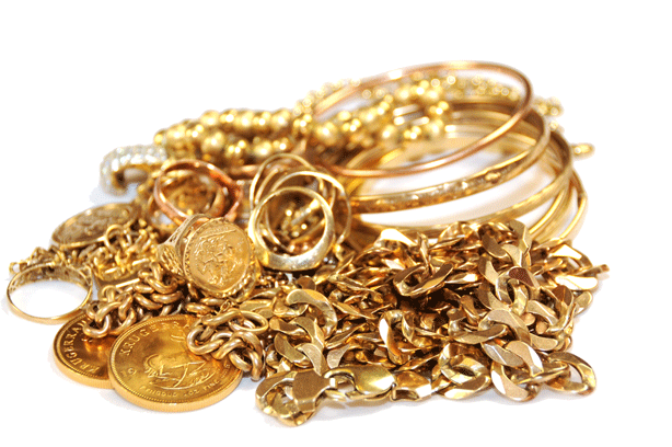 Gold chains rings coins and bangles