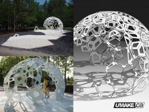 laser cut public art sculpture, d?coup? au laser sculpture d'art public uMake.ca umakefactory