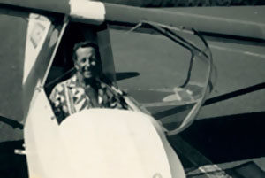 Woody Brown flying his plane