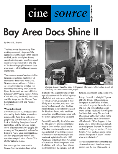 Cine Source Bay Area Docs Shine 2, by David L. Brown