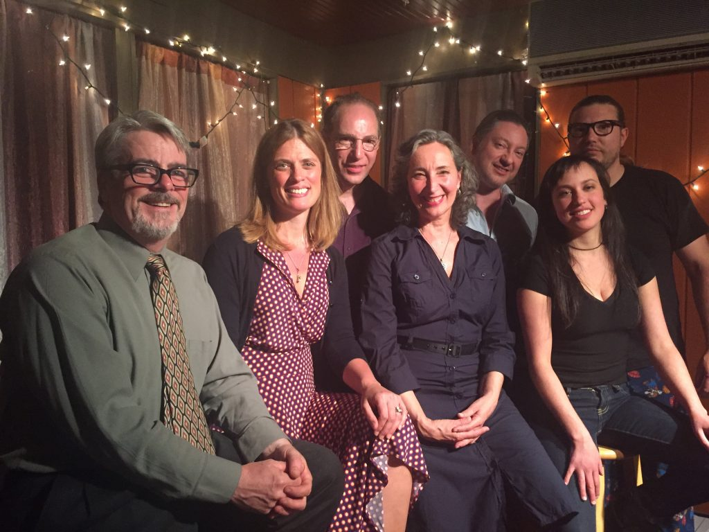 The Last Schwartz Spring Reading Series 2016. From left to right Sean Marrinan, Christa Trinler, Raymond Tomaselli, Ann Citron, Brett Owen, Rebecca Kisch, Jon Lee