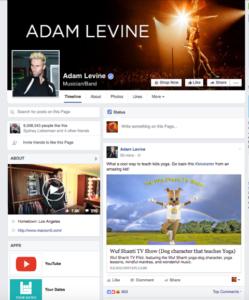 Adam Levine FB Page