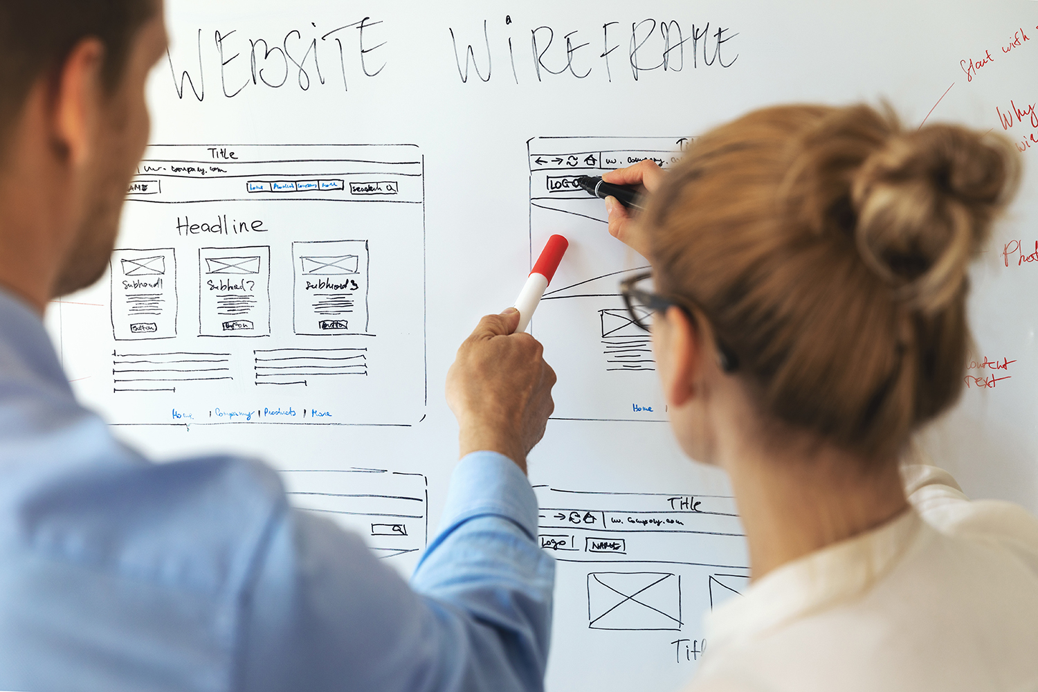 Apeiros Marketing UI UX designers team working on new website wireframe in office
