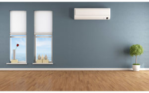 ductless air conditioner mounted on wall
