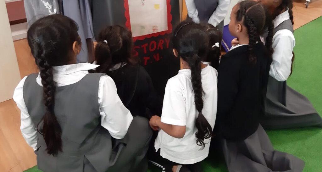 Maktaba visits a school in 2019.