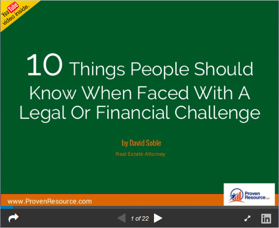 10 things to know when faced with a Legal /Financial Challenge from David Soble, JD