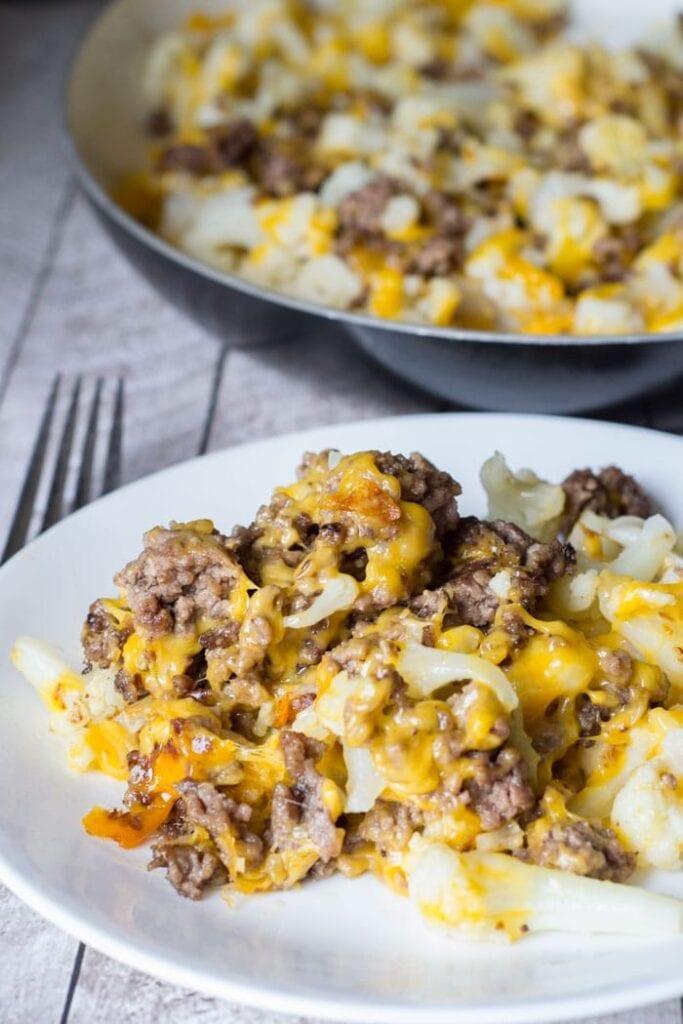 keto cauliflower ground beef hash