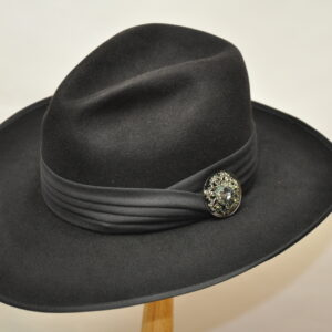Black Sonora Fedora top/side view hat