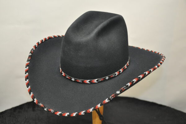 black southwest special hat. hand beaded hatband and brim with white, grey, red, and black beads. matching windstring