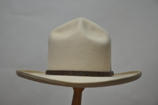 Bone mesa pinch II hat with brown leather hatband and dark copper studs with feather illustration