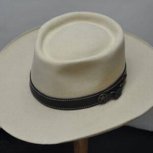 bone pinched telescope III hat with dark brown leather hatband with white stitching and silver concho