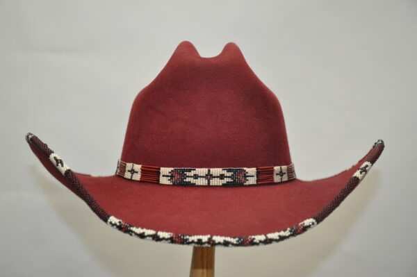 Burgundy Ace hat with hand beaded white and red hatband and brim