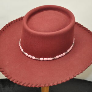 Burgundy nevada gambler hat with pink turquoise, sterling silver, and swarovski beading