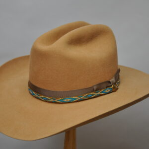 camel cattleman 5 with blue cream and camel colored woven hatband and dark brown ribbon