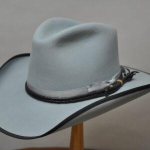 chambray diamond jim 3 hat with black ribbon brim and grey ribbon hatband