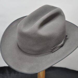 charcoal open road III with matching ribbon hatband and black lined brim