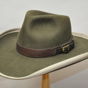 Moss green lariet III hat with brown leather distressed hatband and copper buckle
