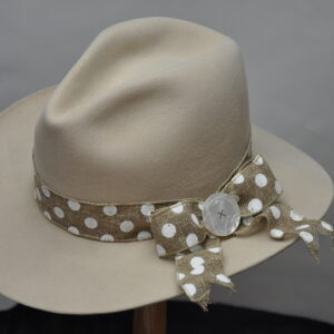 Sand Fedora hat with white polka dot burlap hatband and mother of pearl concho