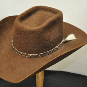 shag brown narrow roping horse hat with matching leather hatband and white horsehair tail