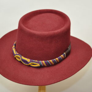 Burgundy telescope hat with multi colored woven hatband