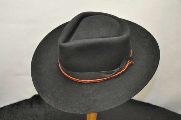 black double diamond hat with leather hatband stitched with black sinew and matching black ribbon