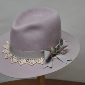 Lilac lace hat with thick smokey purple ribbin and lacey hat band