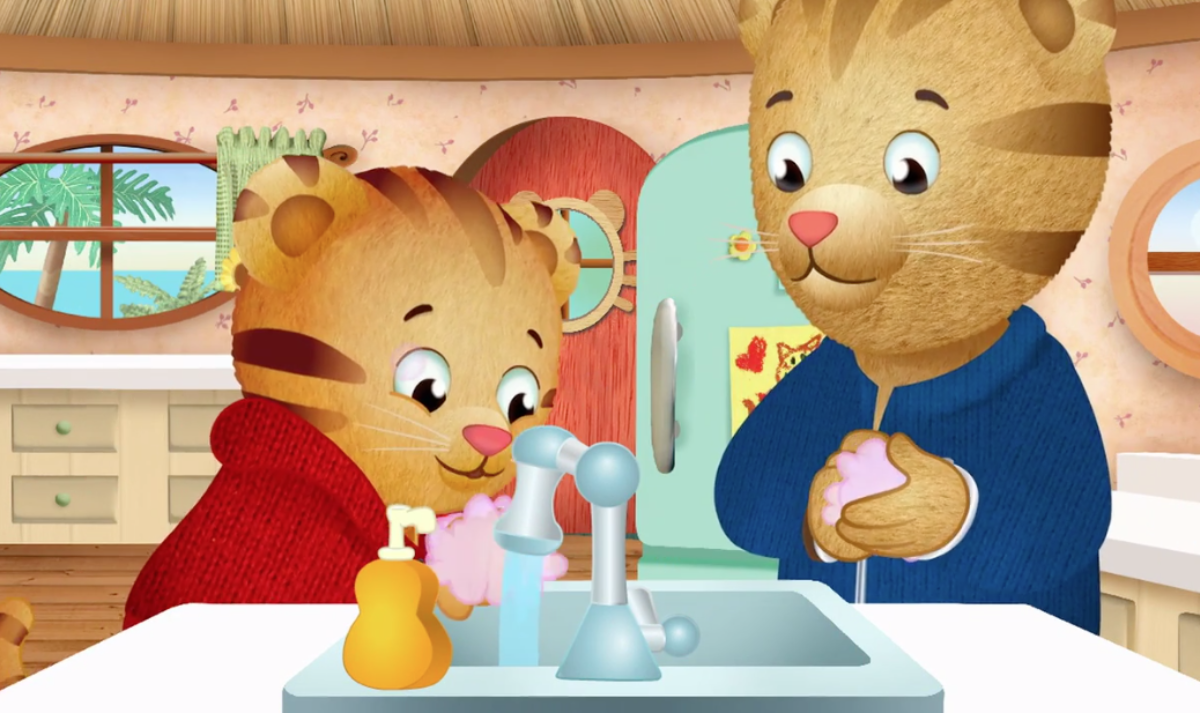 Daniel Tiger washing hands