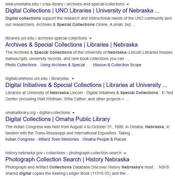 A Google search for digital collections