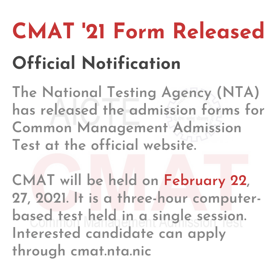 CMAT '21 Form Released