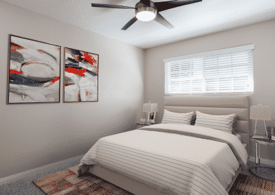 bedroom with ceiling fan and natural light from the window