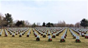 Cemetery with wreaths