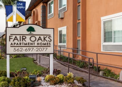 Fair Oaks Apartment Homes sign and exterior of building