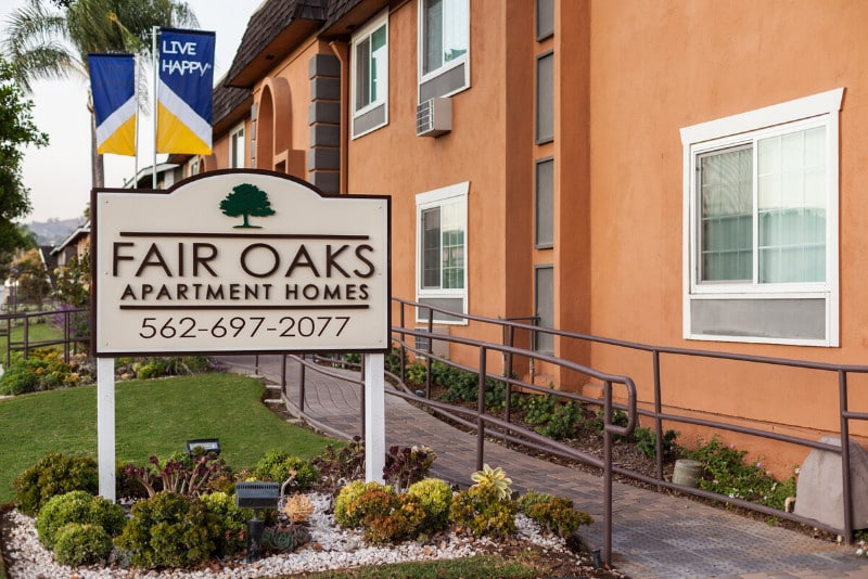 Fair Oaks Apartment Homes Sign with Landscaping