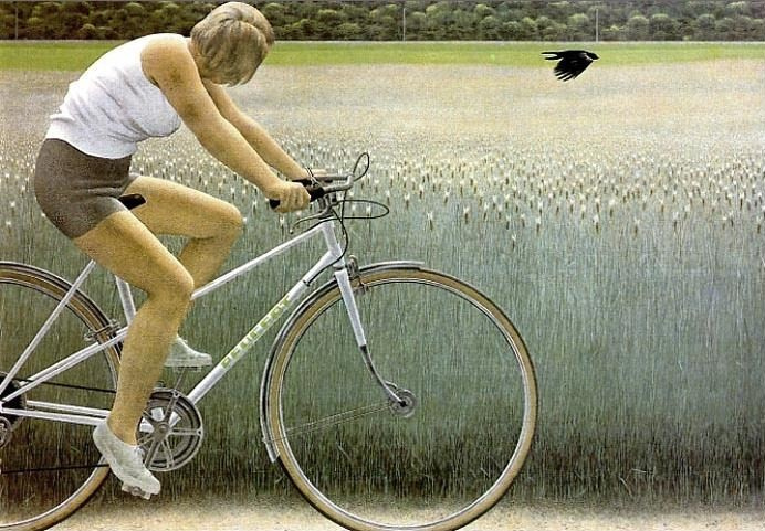 Alex Colville. Cyclist and Crow, 1981