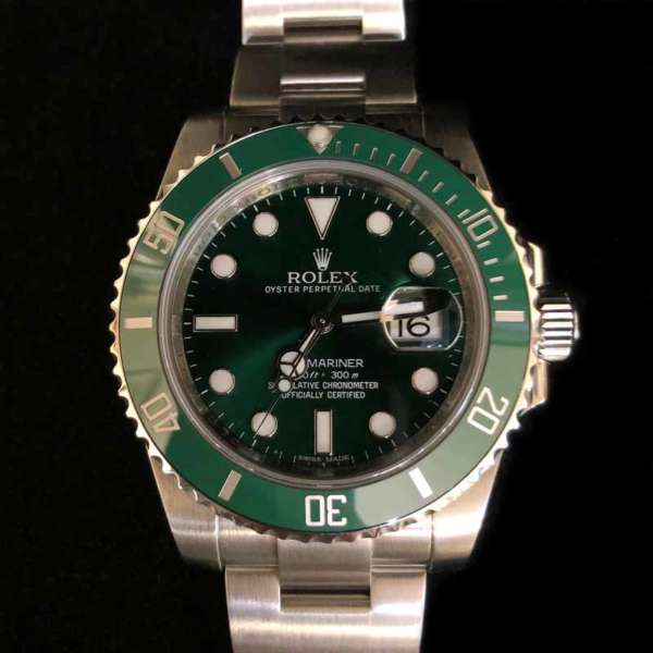 """RolexStainless Steel Submariner Date with Green Dial """"Hulk"""""""