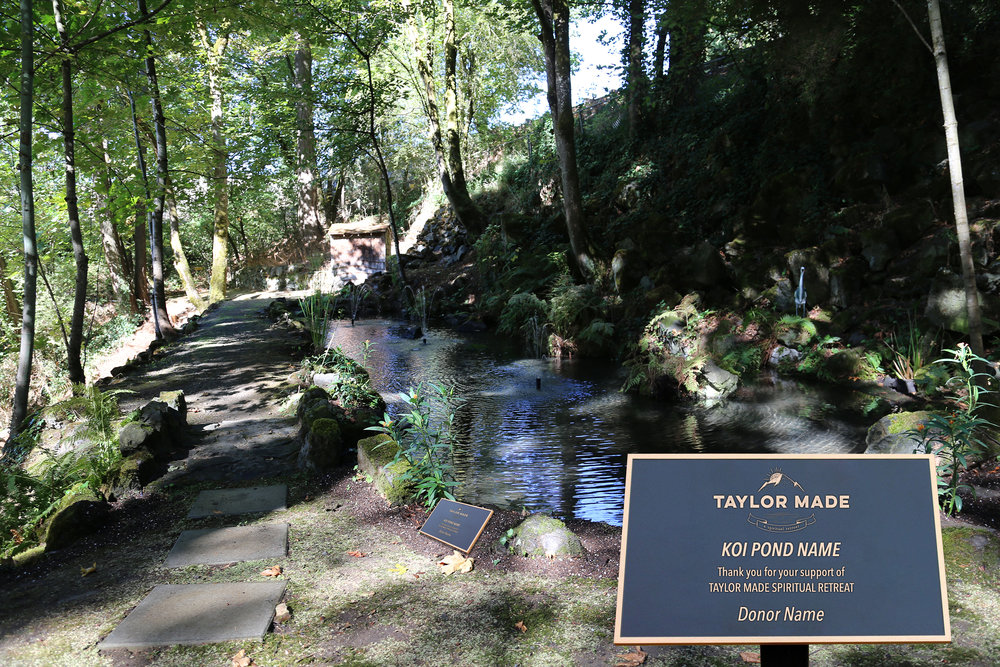 Taylor Made Addiction recovery on site koi pond