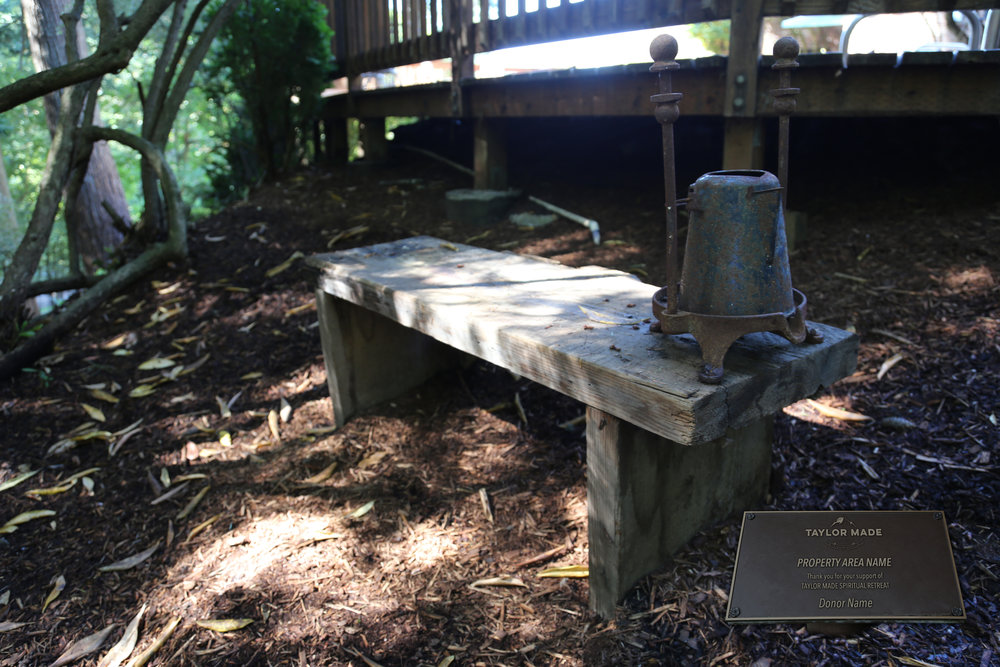 Taylor Made Addiction recovery grounds bench for sponsorship