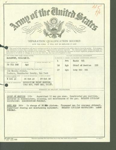 McCarthy's discharge