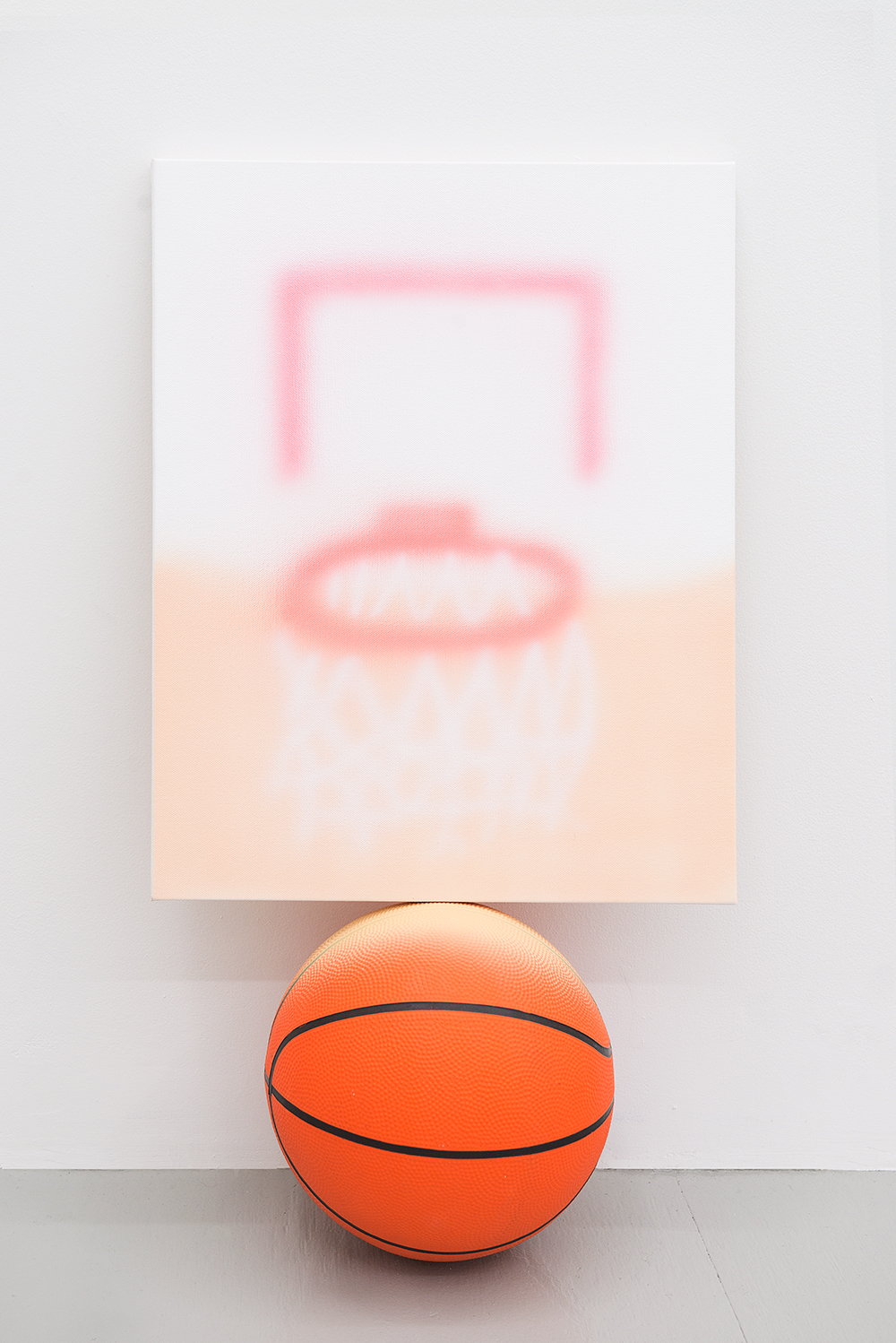 Jonny Paul Gillette goal on basketball ball, 2015 Acrylic polymer on canvas, basketball ball  2015