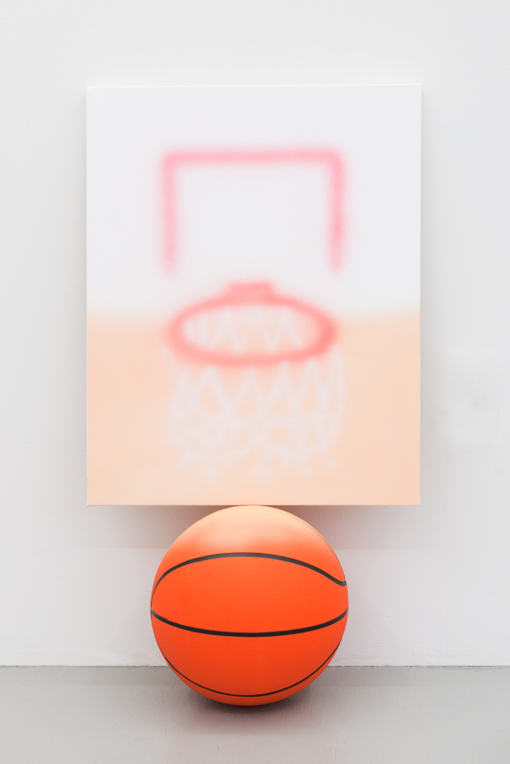 Jonny Paul Gillette goal on basketball ball, 2015 Acrylic polymer on canvas, basketball ball