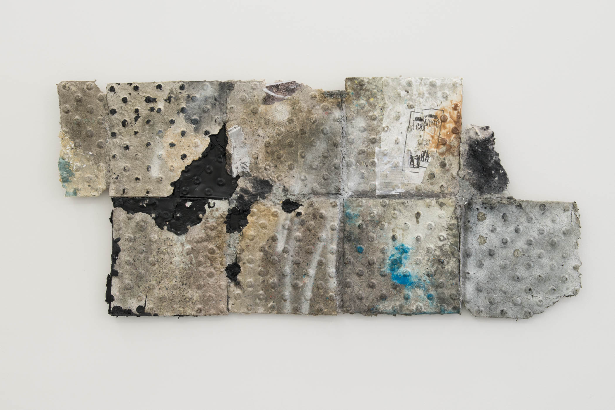 Brandon Ndife untitled (others may i cannot), 2015 Paper pulp relief, resin, rubber, and acrylic mounted on board