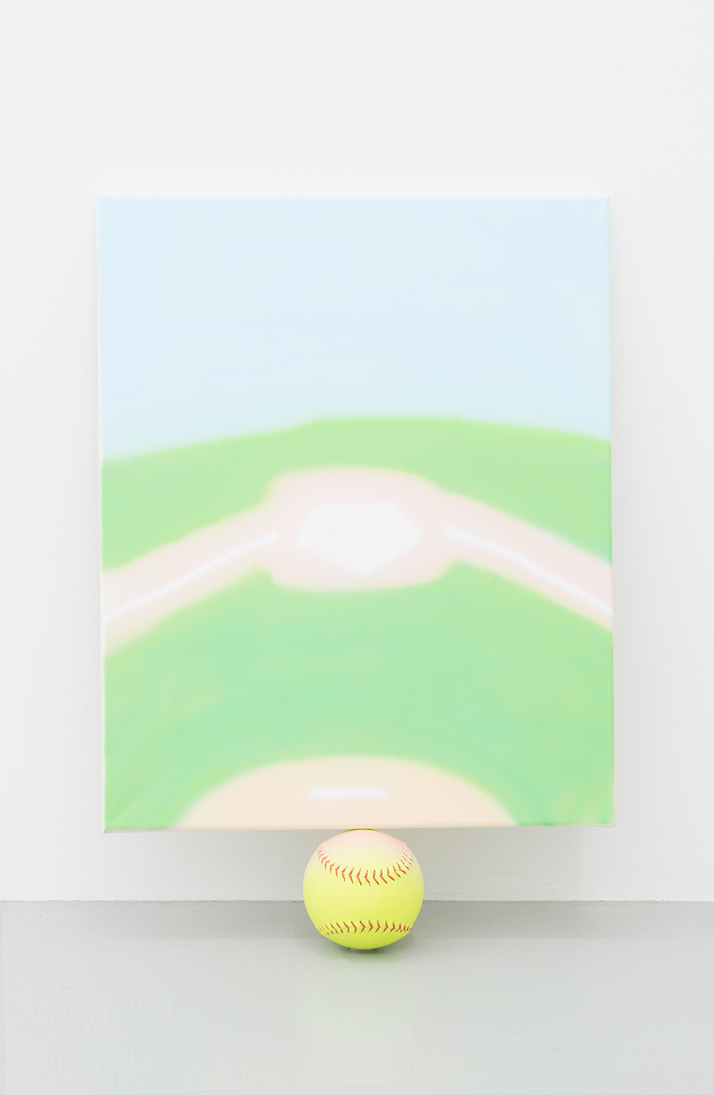 Jonny Paul Gillette goal on softball ball, 2015 Acrylic polymer on canvas, softball ball