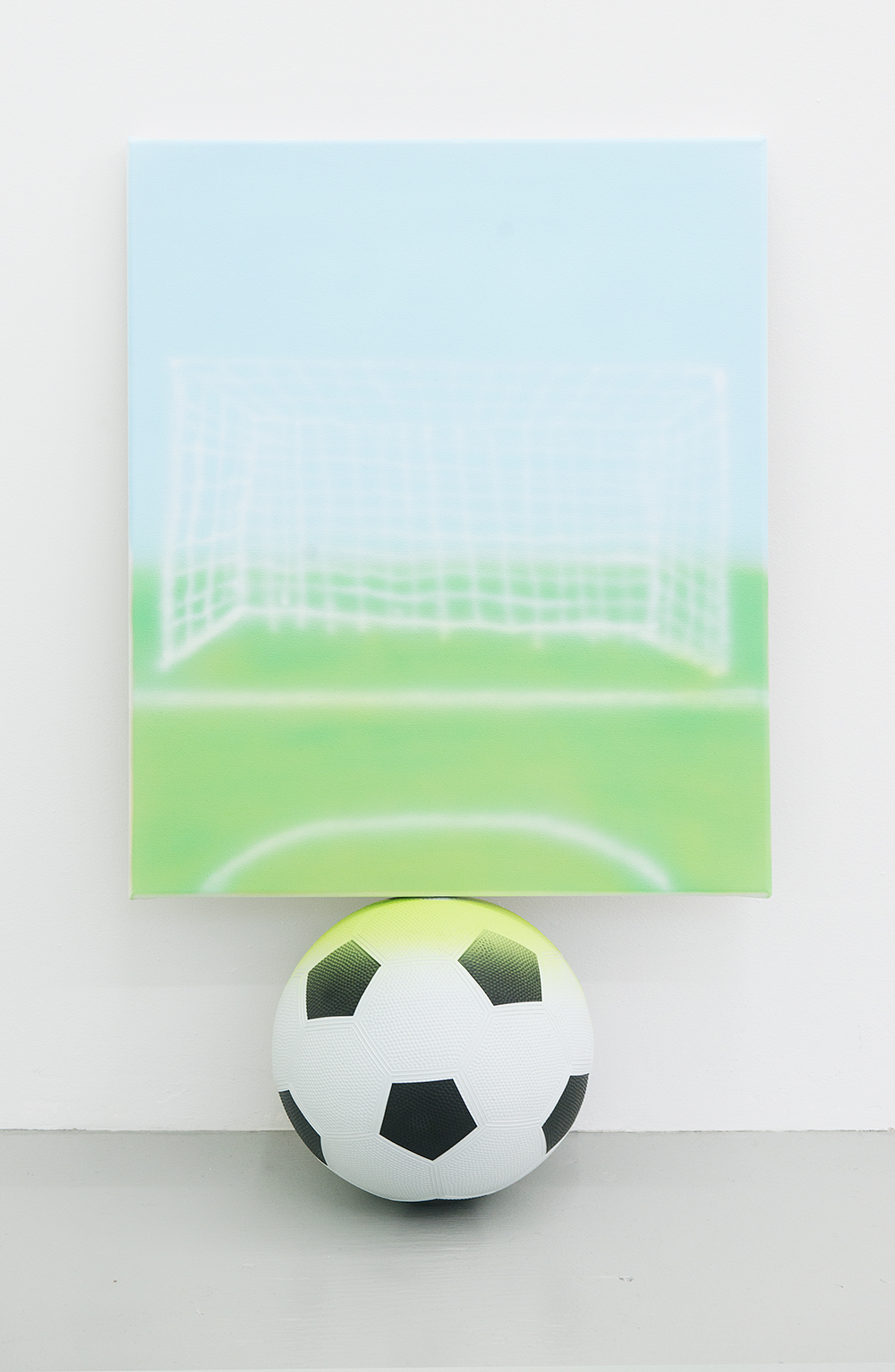 Jonny Paul Gillette Goal on soccer ball, 2015 Acrylic polymer on canvas, soccer ball