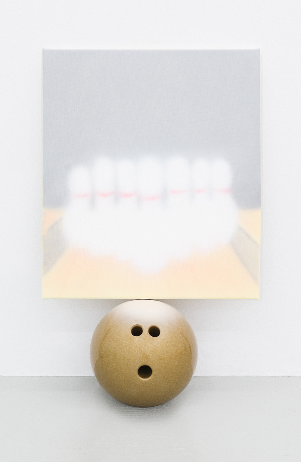 Jonny Paul Gillette Goal on bowling ball, 2015 Acrylic polymer on canvas, bowling ball
